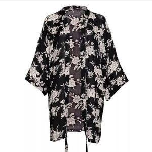 Spiritual Gangster Maya Kimono Black Floral O/S